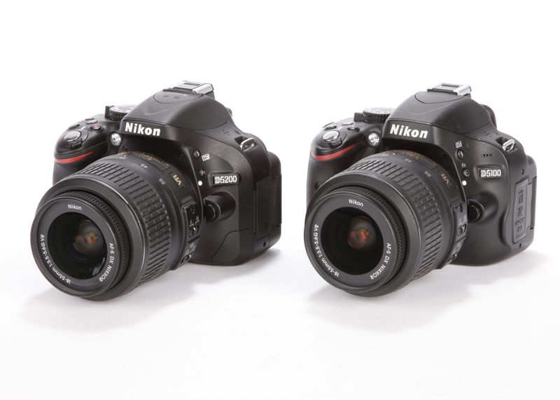 the body between the Nikon D5200 (left) and the Nikon D5100 (right
