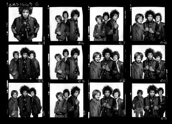 o Jimi Hendrix σε ένα contact sheet από 6x6 φιλμ