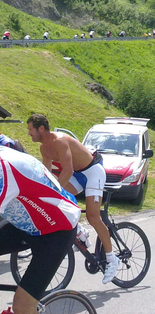 Mario Cipollini on the Giau, Maratona dles Dolomites 2010