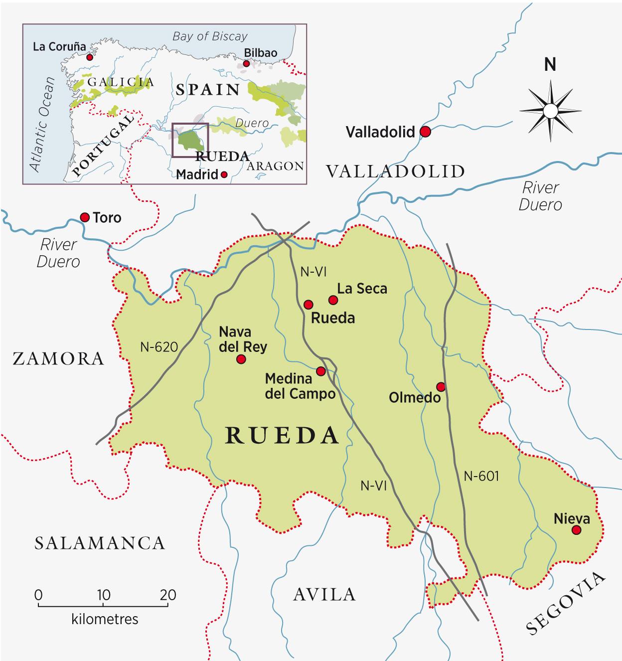 Map Rueda wine region