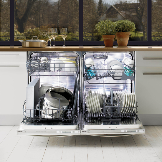 A dishwasher uses hotter water than we use for washing by hand, but it still consumes less energy to heat its water supply than it does to run hot water into a sink