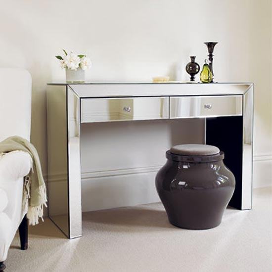 Console tables can provide an elegant, space-saving dressing area
