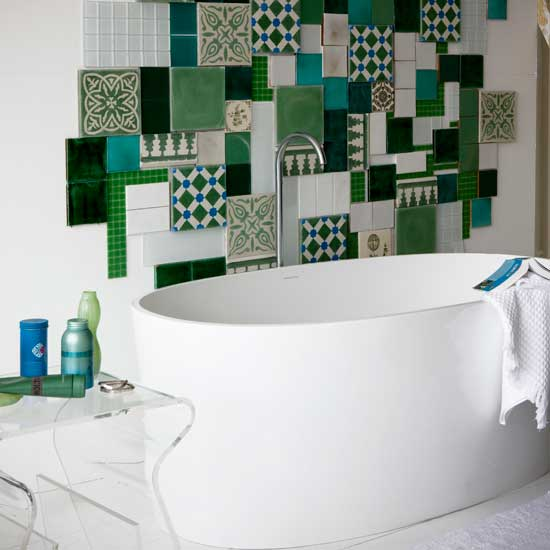 Tile creatively and you may end up with a piece of bathroom art