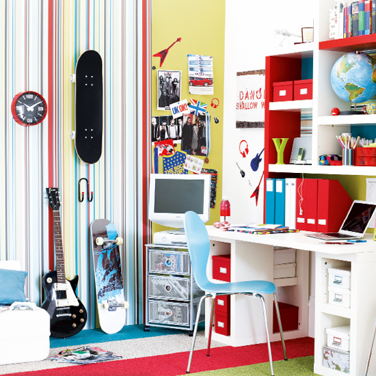 A scheme tailored to your child's personality, like this colourful teen bedroom, will keep them happy