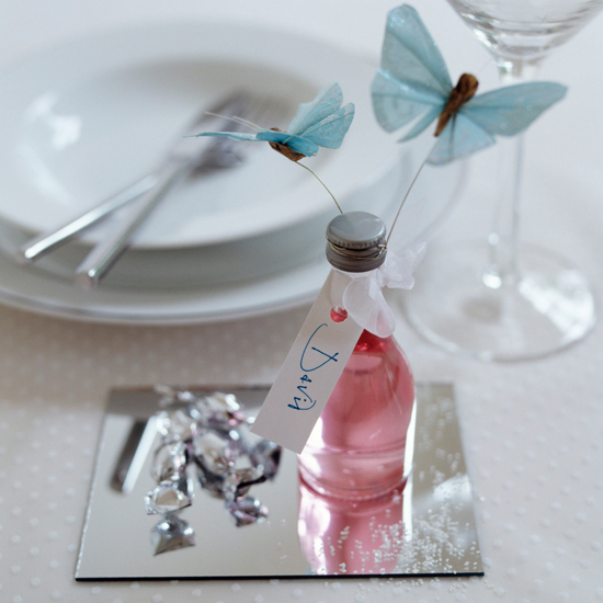 Give guests drinks miniatures - complete with a decorative butterfly \ David Brittain