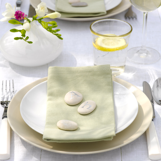 Initialled pebbles make for elegant, fuss-free place settings \ Dan Duchars