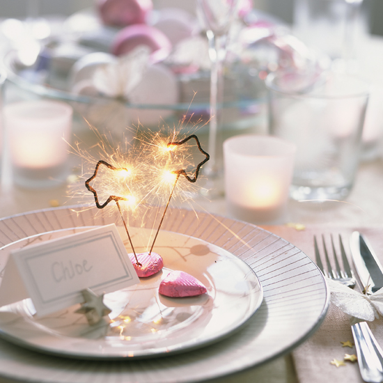 Bring drama to your place settings with mini sparklers \ Nick Pope