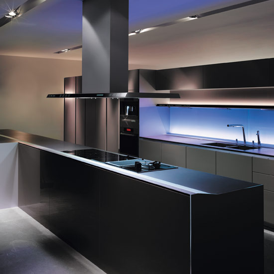 SieMatic's chromotherapy lighting can be set to one shade or rotate through the colour spectrum. Shown as part of the S1 kitchen, which costs from £50,000, it can be used in splashbacks or within glass-fronted cabinets
