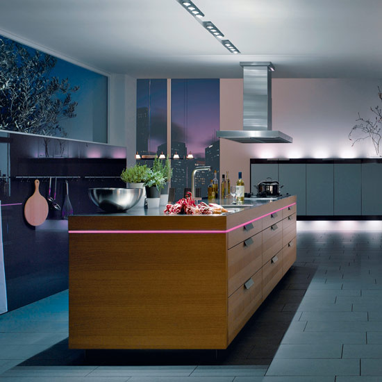 The Warendorf Moodlight concept emphasises the horizontal lines of an island unit with striking pink lighting. Kitchens start from £20,000