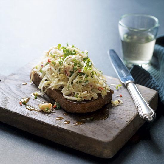 Celeriac, chilli, crab and lemon salad on toasted sourdough