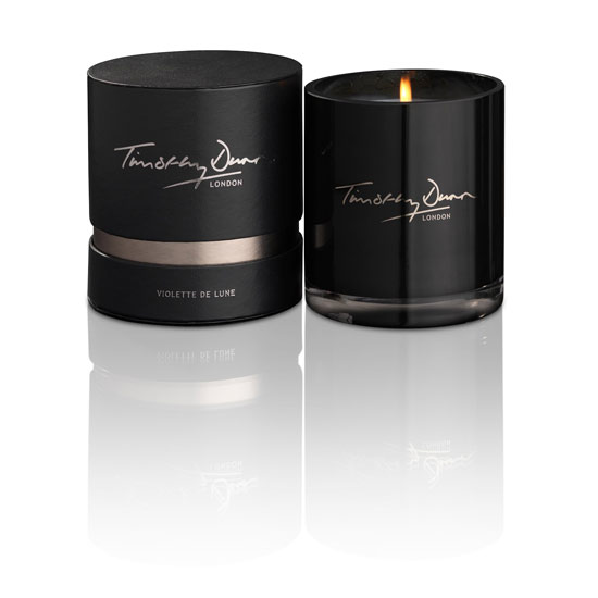 Heaven scent: Luxury candlemaker Timothy Dunn sold 25,000 candles last year. This Violette de Lune candle costs £42 and burns for 60 hours