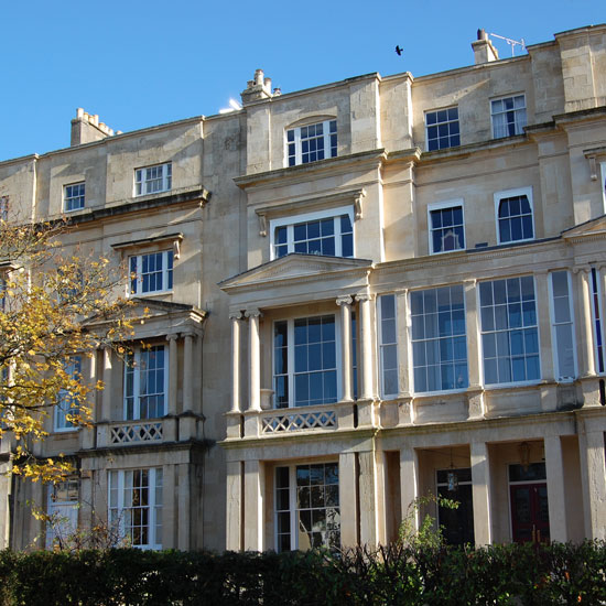 Lansdown Terrace, a Grade II listed dressed stone Regency town house in Cheltenham is on the market for £1.5 million with Knight Frank \ Knight Frank