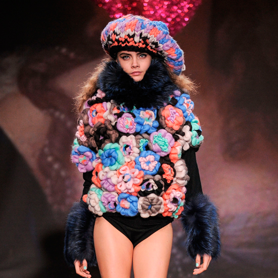 Feeling chilly? Model of the moment Cara Delevigne working some serious florals at London Fashion week\PixelFormula/SIPA/Rex Features