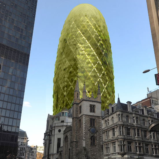 Will it get the green light? The proposed luminous green makeover is designed to make Londoner's smile - we're not sure if this slimy-looking green exterior will make tourists and workers feel queasy \ Solent News / Rex Features