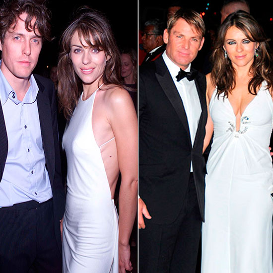 Liz shows off her assets, then and now: with famous old beau, Hugh Grant (left), and current fiancé Shane Warne (right) \ Rex Features