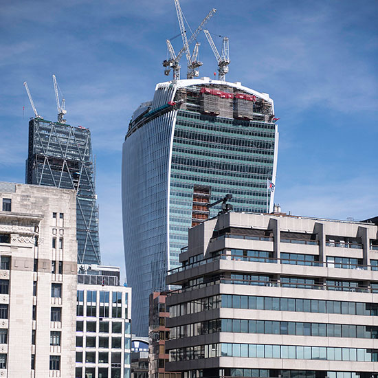 the walkie talkie with the in the distance